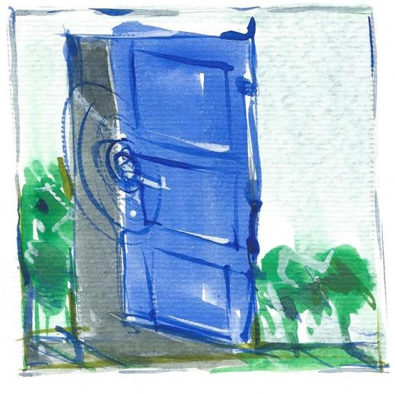 porte bleue, illustration d'Olivier Dende